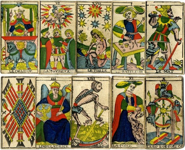 Antique Tarot Cards: Tarot de Marseille by N. Conver, 1760